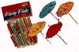 Luau 10 Colorful Umbrella Cocktail Parasol Picks Party Beverage - £6.05 GBP