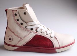 Heyday Mens Shift Classic Cream Cherry Red Leather Shoes Fashion Sneakers NIB image 4