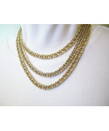 Crown TRIFARI Long Curb Link Chain Necklace Gold Plated Double Scored Li... - $22.77