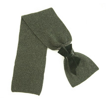 Paul Smith 100% Lambswool Gray Knit Black Velvet Bow Scarf Wrap Cache Col - $78.21