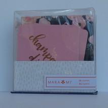 New in Box Mara Mi Champagne Diet 12 Coaster & 24 Floral Napkin Set Host... - £8.12 GBP