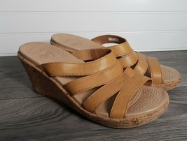Crocs Strappy Slide Cork Wedge Heel Sandal Leather Straps Gel Insoles  Women's 9 - $24.65