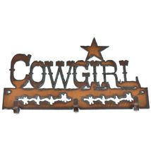 Country Western Rusted Patina Iron Metal Cutout Cowgirl 3 Hook Key Hanger Decor image 3