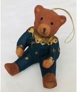Teddy Bear Christmas Ornament Brown Bear in Blue & Gold Pajamas Moon Sta... - $7.84