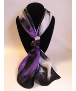 Hand Painted Silk Scarf Purple White Gray Black Rectangle Unique Womens ... - $56.00