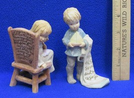 Foundations Figurines Girl Sitting on Chair & Boy Sailboat Prayer Lot 2 ... - $9.89