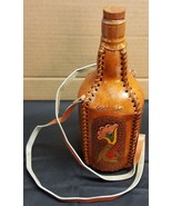 I) Colombia Leather Wrapped Bottle Flask Decanter Hand Tooled Leather Strap - £4.40 GBP