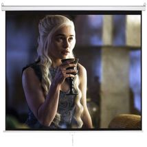 120 Inch HD 1:1 Pull Down  Manual Projection Screen with Auto Lock Home ... - $49.99