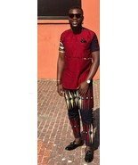 Men's Multicolored Short Sleeve Shirt and Pants African Clothing Men Fas... - $79.99+