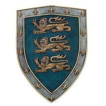Medieval Times Three Lions Royal Coat of Arms Shield Wall Sculpture - $39.60