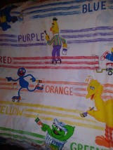 Vintage Sesame Street Lot Of 3 Twin Flat  Sheets Bed  Fabric - $27.71