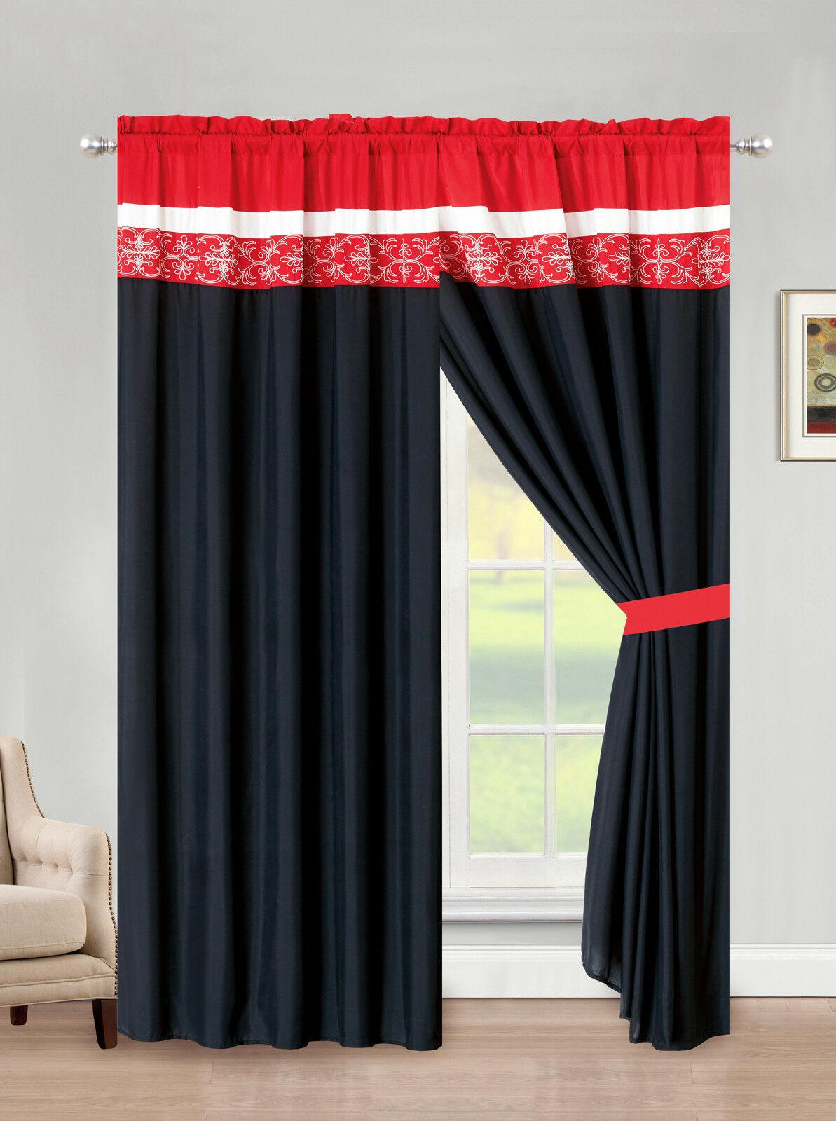 4-Pc Preston Royal Damask Floral Scroll Curtain Set Red Black White Sheer Drape - $40.89