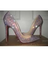 Sparkle Wedding Shoes Pointed Toe Heels Red Bottom swarovski Crysal Brid... - $179.00