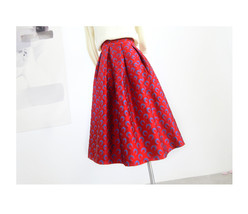 Women Deep Red Party Skirt High Waist Red Pleated Skirt A-line Midi Party Skirts image 1