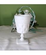 White Milk Glass goblet, vintage, 1960s - $11.00