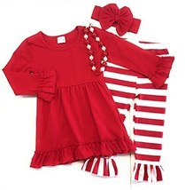 Cute Kids Clothing Toddler Girl/Girl's Red Striped Outfit Boutique Set (... - $26.99