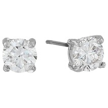Blue Betsey Johnson Silver Tone Wedding Pave CZ Huggie Stud Earrings Set... - $34.16
