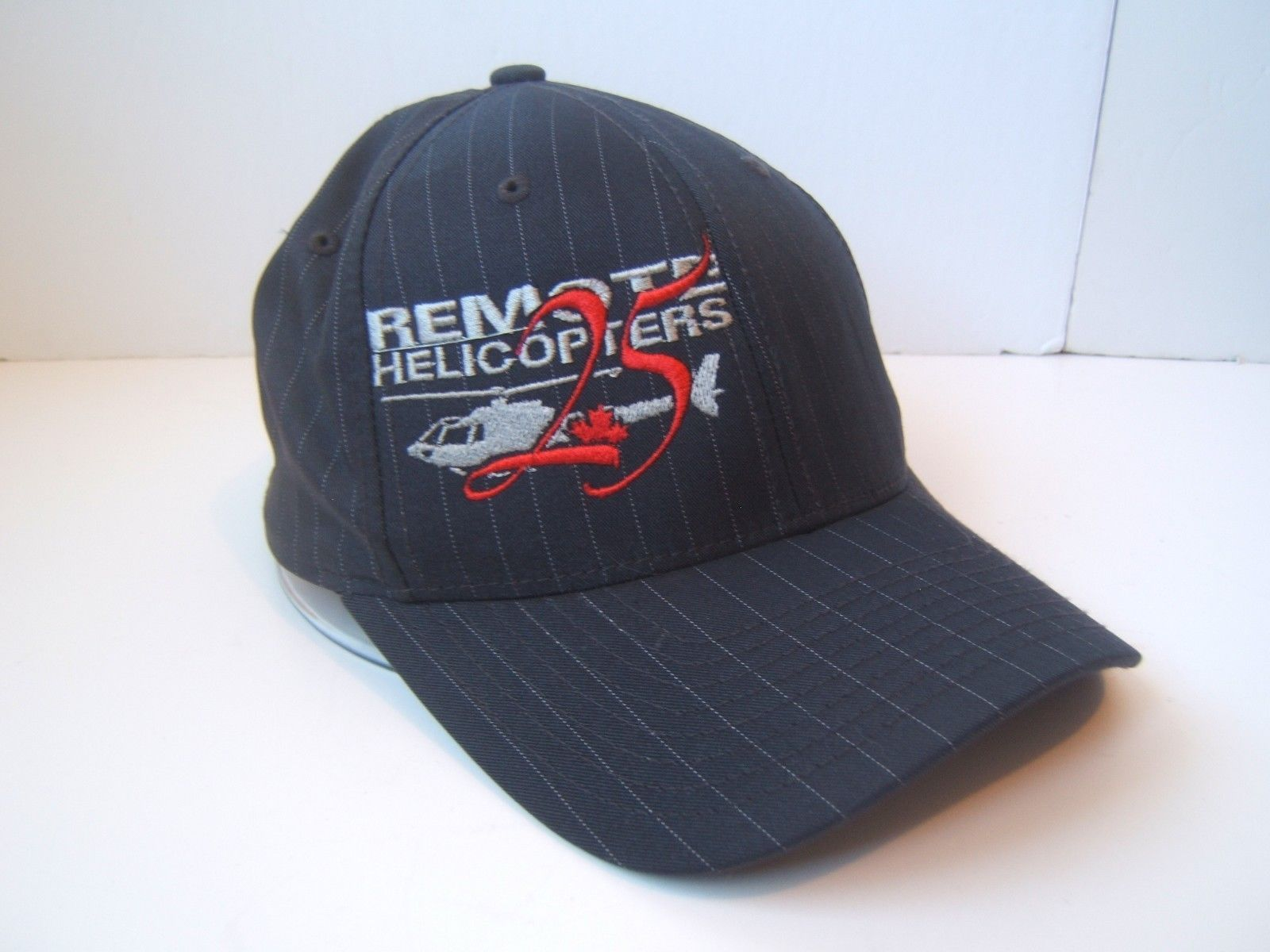 Remote Helicopters Hat S-M Stretch Fit Black Pinstripe Baseball Cap
