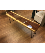Live edge solid walnut bench, entry bench, coffee table. with EPOXY finish - $450.00