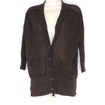 Ann Taylor Loft Cardigan Sweater Women Size S Brown Button Front Thin Pockets - $12.86