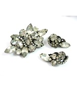 Levels RHINESTONE PIN & EARRINGS Set Vintage Clear On BLACK Clip On Brooch - $18.99