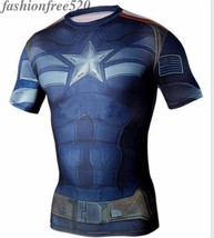 Short Sleeve Compression T-shirt Marvel Movie Captain America Fitness Sportswear - $7.99