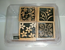 New Stampin' Up! 2003 Mostly Flowers Set of 4 Rubber Stamps Vintage Clas... - $9.89