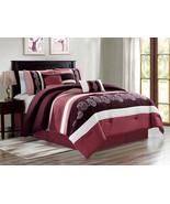 7-P Ellery Paisley Floral Embroidery Pleated Comforter Set Purple Rose P... - $86.94