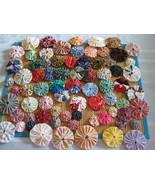 73 Mixed sizes Fabric YoYo's yo yos handmade trim applique yoyos yo yo  - $12.00
