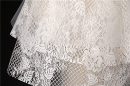 Ivory Shoulder Length Wedding Bridal Veils Layer Floral Lace Tulle Bridal Veils  image 10