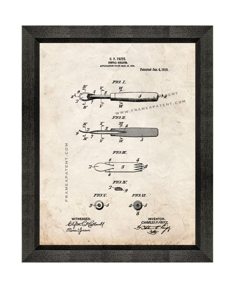Dental Scraper Patent Print Old Look with Beveled Wood Frame - $24.95 - $109.95