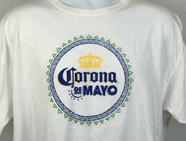 Corona De Mayo Crown Logo T Shirt Mens Large White Beer Cerveza - $21.73