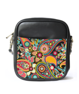 Sling Bag Leather Shoulder Bag Limited Beautiful Paisley Pattern Persian... - $12.00