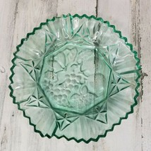 Indiana Glass Embossed Fruit Pattern Green Tint Crimped Edge Bowl 11 in Diameter - $11.63