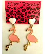 Betsey Johnson Gold Alloy Pink Heart Flamingo Dangle Post Earrings - $9.99