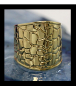 EternaGold 14K Gold Wide Band Ring Crocodile Pattern Size 7 Italy - $349.19
