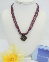 Avon Copper Tone Multi Strand AMETHYST Color Crystal Bead Pendant Necklace NIB - $14.50
