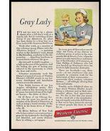American Red Cross 1956 Volunteer AD Gray Lady Western Electric Advertis... - $14.99