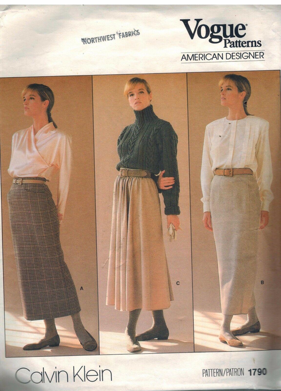 1790 sin Cortar Vogue Costura Patrón Misses Recto Acampanada Falda Calvin Klein