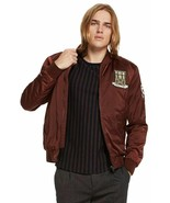 Scotch Soda Red Brick Satin Deal Maker Embroidered Padded Bomber Jacket ... - $87.99
