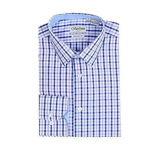 Men's Checkered Plaid Dress Shirt - Purple, X-Large (17-17.5) Neck 34/35 Sleeve