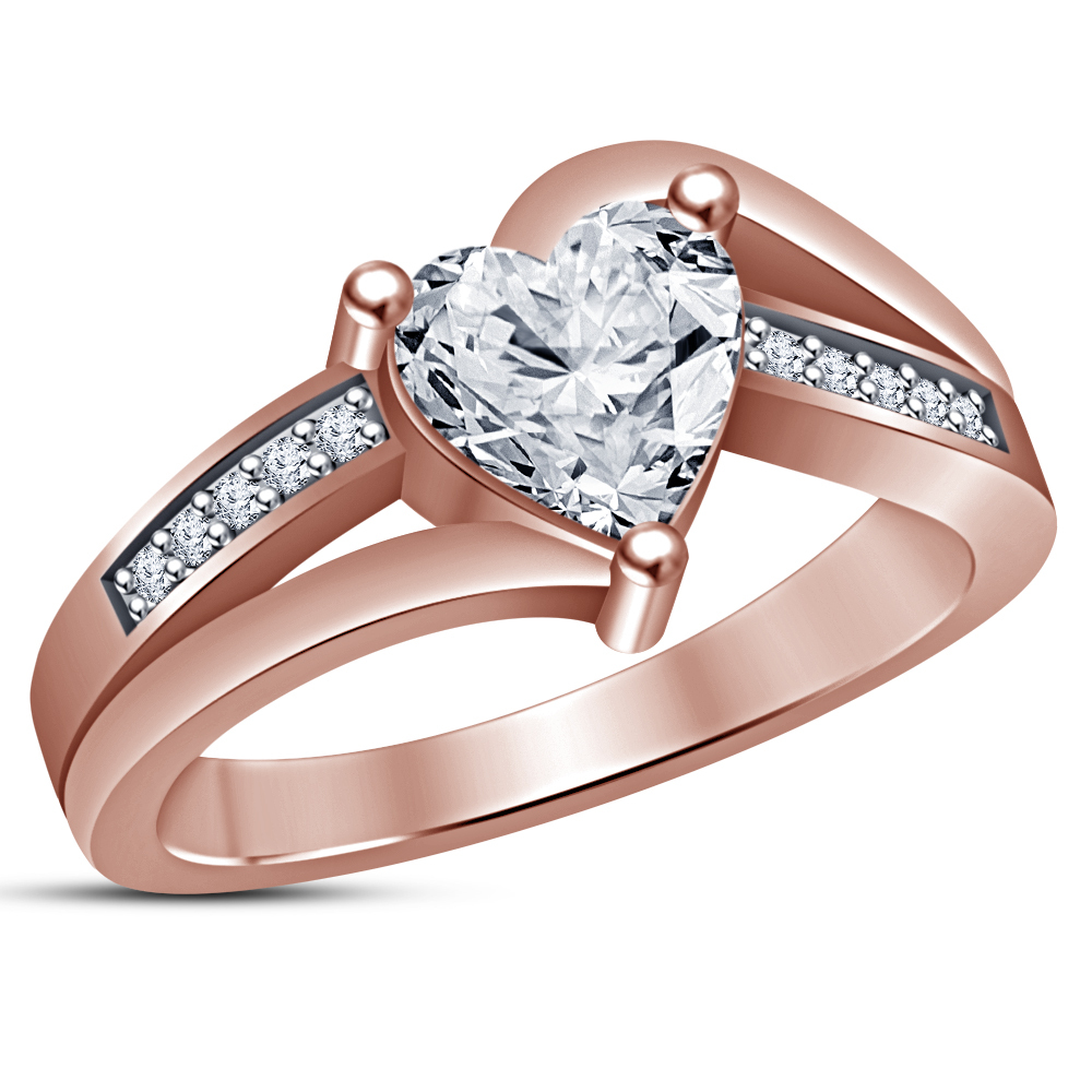 Heart Shape White Diamond Ladies Engagement Ring 14k Rose Gold Plated 925 Silver