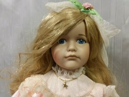Vintage Hello Dolly 1989 Albert E Price Girl Porcelain Doll With Stand - $19.79