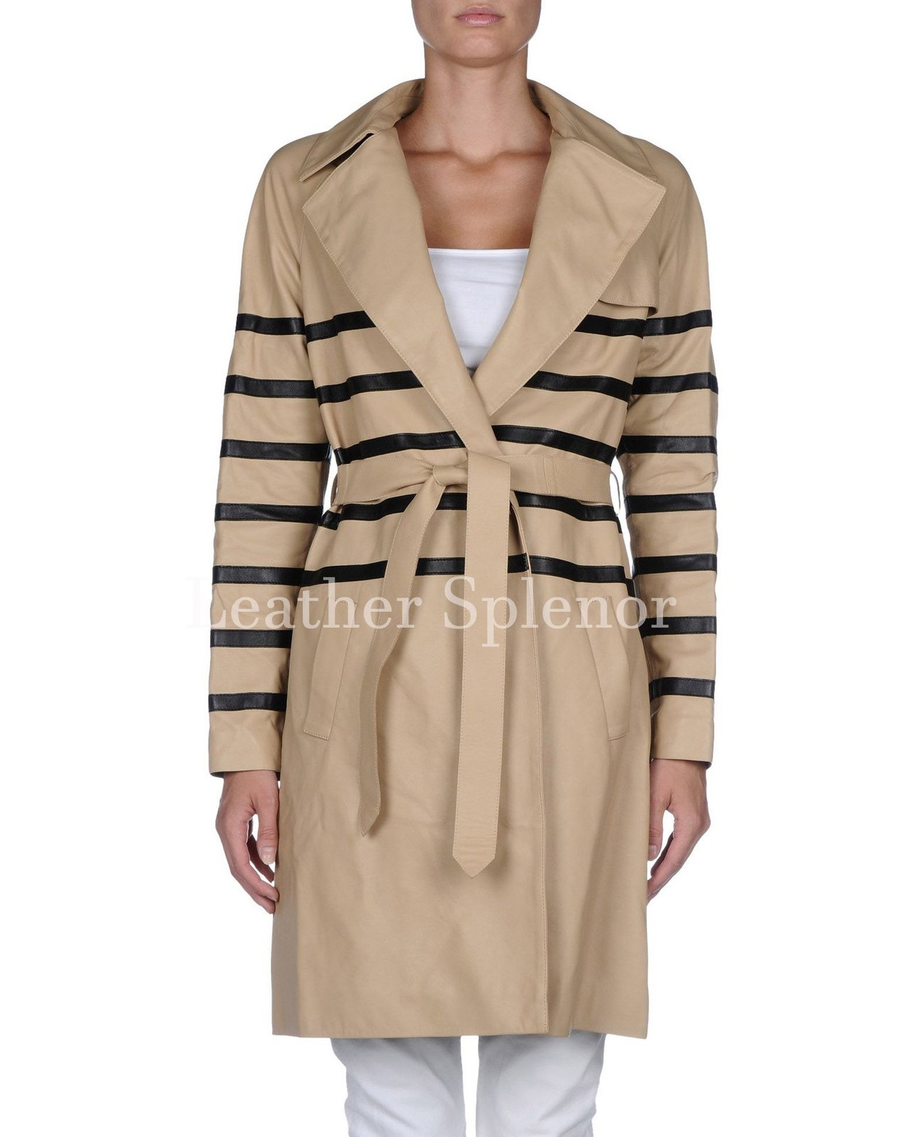 Striped Women Leather Coat