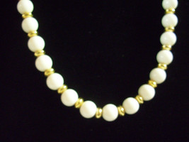 Trifari White Beads Gold Plate Spacers Necklace Strand String Elegant Classic image 2