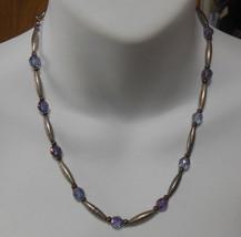 Vintage Signed Kien Silver-tone & Purple Glass Bead Necklace   - $21.77
