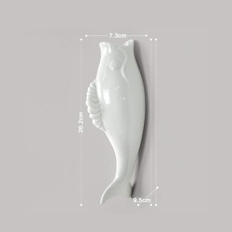 Interior Wall Hung Decorative Fish Shape Vase with Artificial Flowers Home Bar image 4