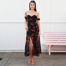 Simplee Off shoulder split summer dress long Floral print chiffon women dress ca - $59.97