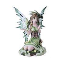Summer Princess Flower Fairy and Dragon Mystical Statue Figurine Meadow - $35.63