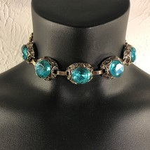 "Vintage Estate Choker Turquoise Aqua Faceted Round Glass Antiqued Goldtone 13.5"" - $42.56"